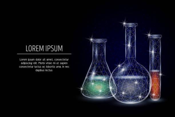 Chemie vector geometrische veelhoekige kunst stijl designvectorkunst illustratie