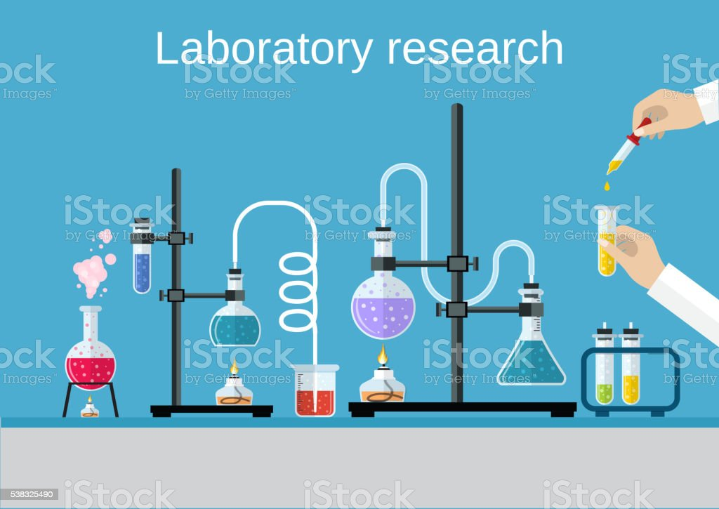 Químicos cientistas equipamento. - ilustração de arte vetorial
