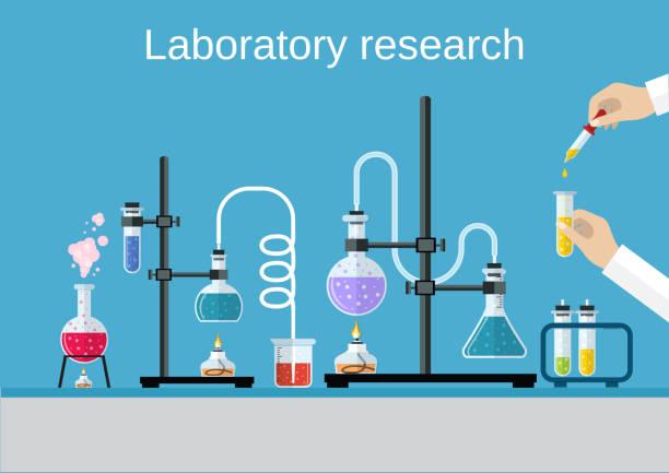 illustrazioni stock, clip art, cartoni animati e icone di tendenza di farmacie scienziati attrezzature. - chimica