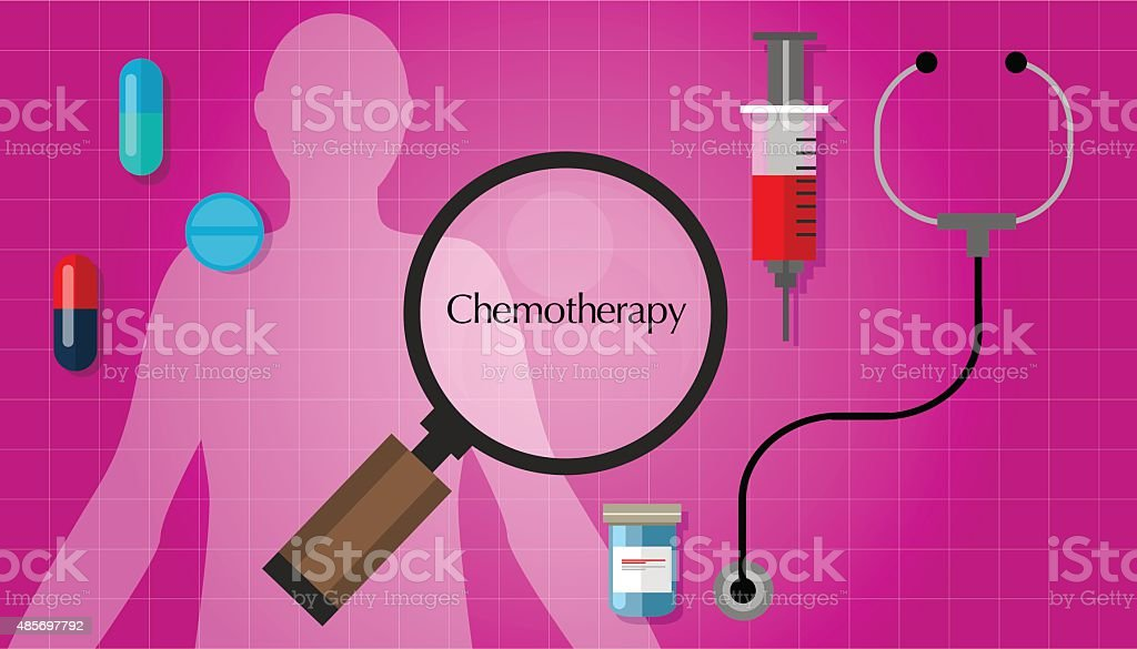 chemotherapy chemo cancer treatment medication vector art illustration