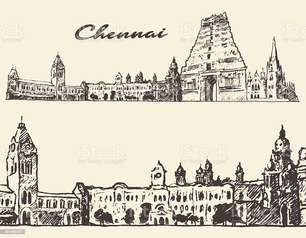 Chennai engraved illustration hand drawn sketch illustration