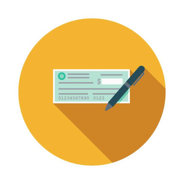 ilustrações, clipart, desenhos animados e ícones de cheque design plano de caridade e doação ícone - cheque