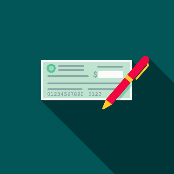 Cheque Flat Design E-Commerce Icon A flat design styled shopping & e-commerce icon with a long side shadow. Color swatches are global so it's easy to edit and change the colors. check financial item stock illustrations