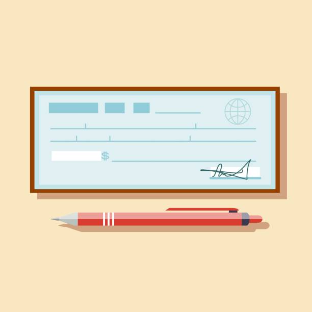 Cheque vector illustration. Cheque icon in flat style. Cheque vector illustration icon in flat style. Cheque book on colored background. Bank check with pen. Concept illustration pay, payment, buy. check financial item stock illustrations
