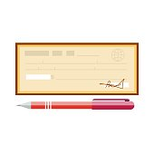 Cheque vector illustration. Cheque icon in flat style
