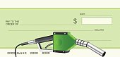 Cheque with green gas nozzle, vector illustration