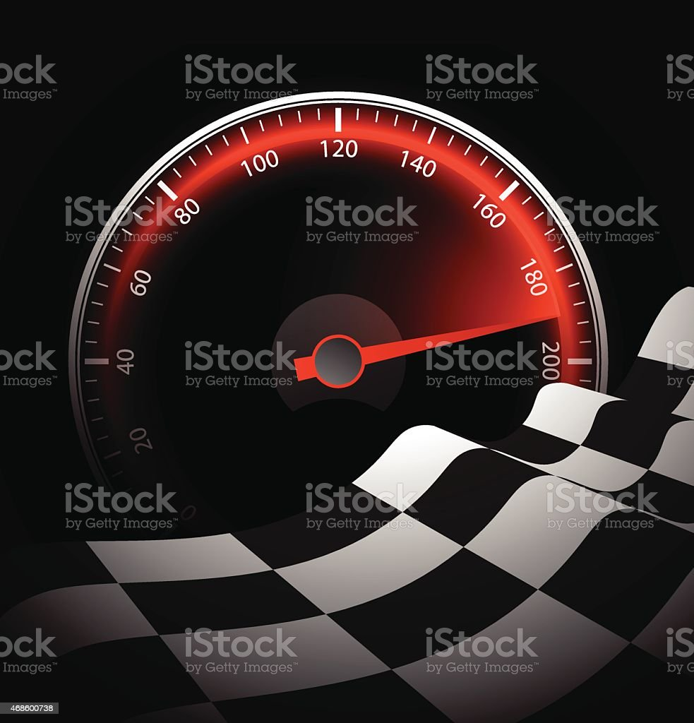 Chequered flag and speedometer vector art illustration