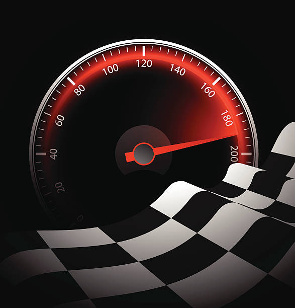Chequered flag and speedometer Illustration contains a transparency blends/gradients. Additional .aiCS6 file included. EPS 10 auto racing stock illustrations