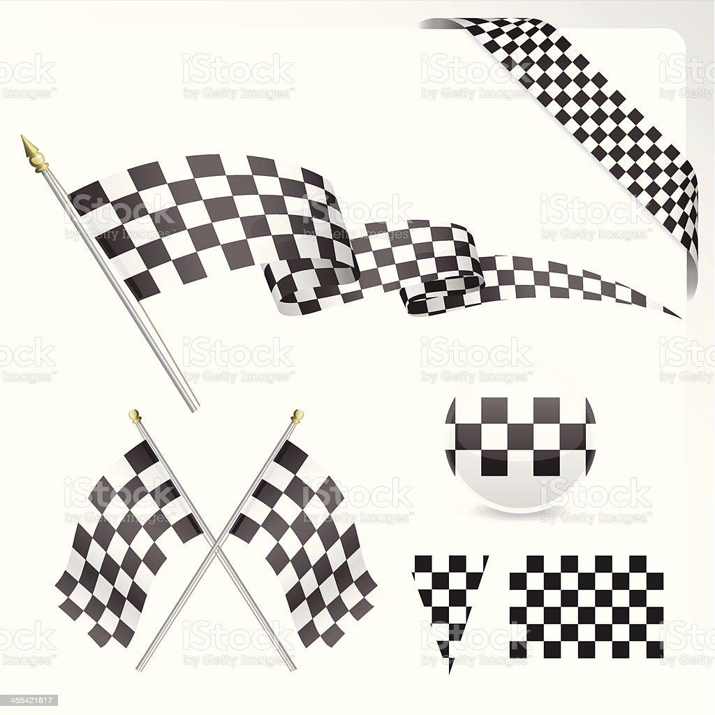 Chequered Flag Set vector art illustration