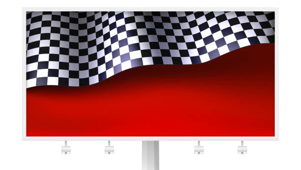 chequered flag with creases on realistic billboard. sports background with finishing flag on red backdrop, vector. template for races, competitions, lotto, bookmakers office, promotion of rates. - formula 1 stock illustrations