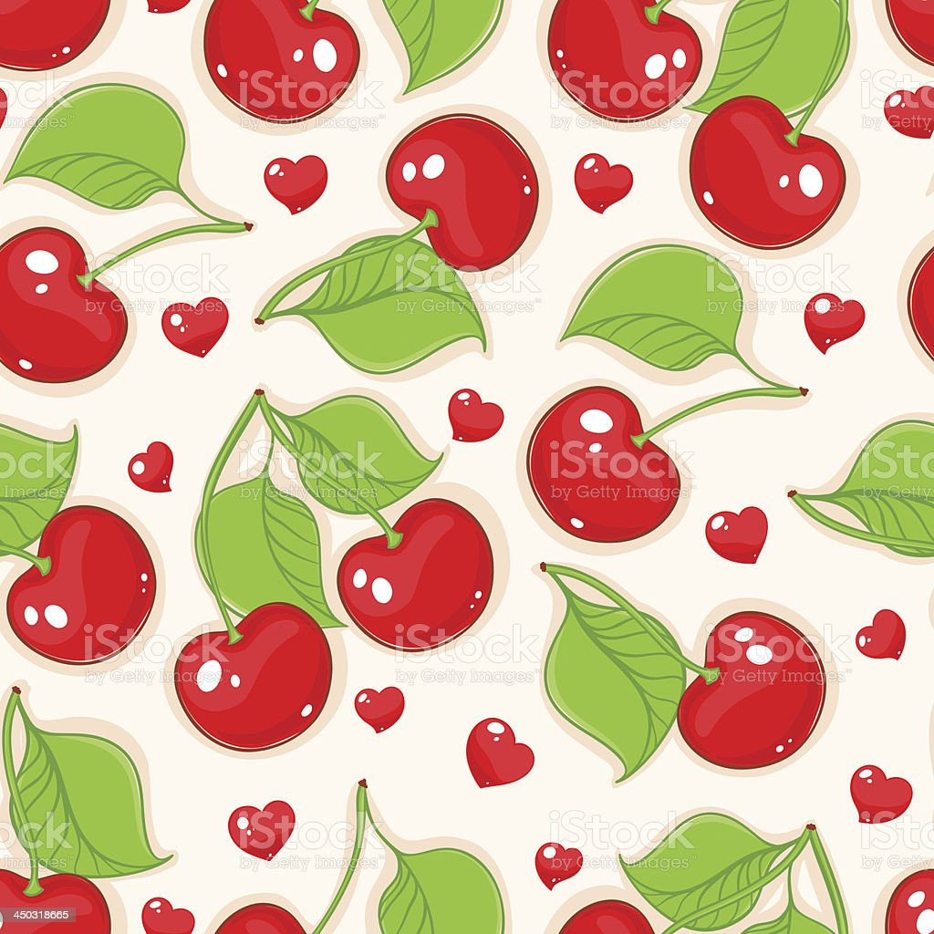 cherries and hearts royalty-free stock vector art