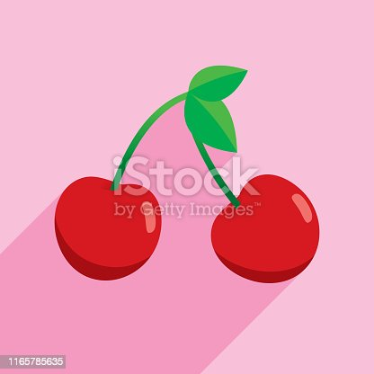 Vector illustration of cherries against a pink background in flat style.