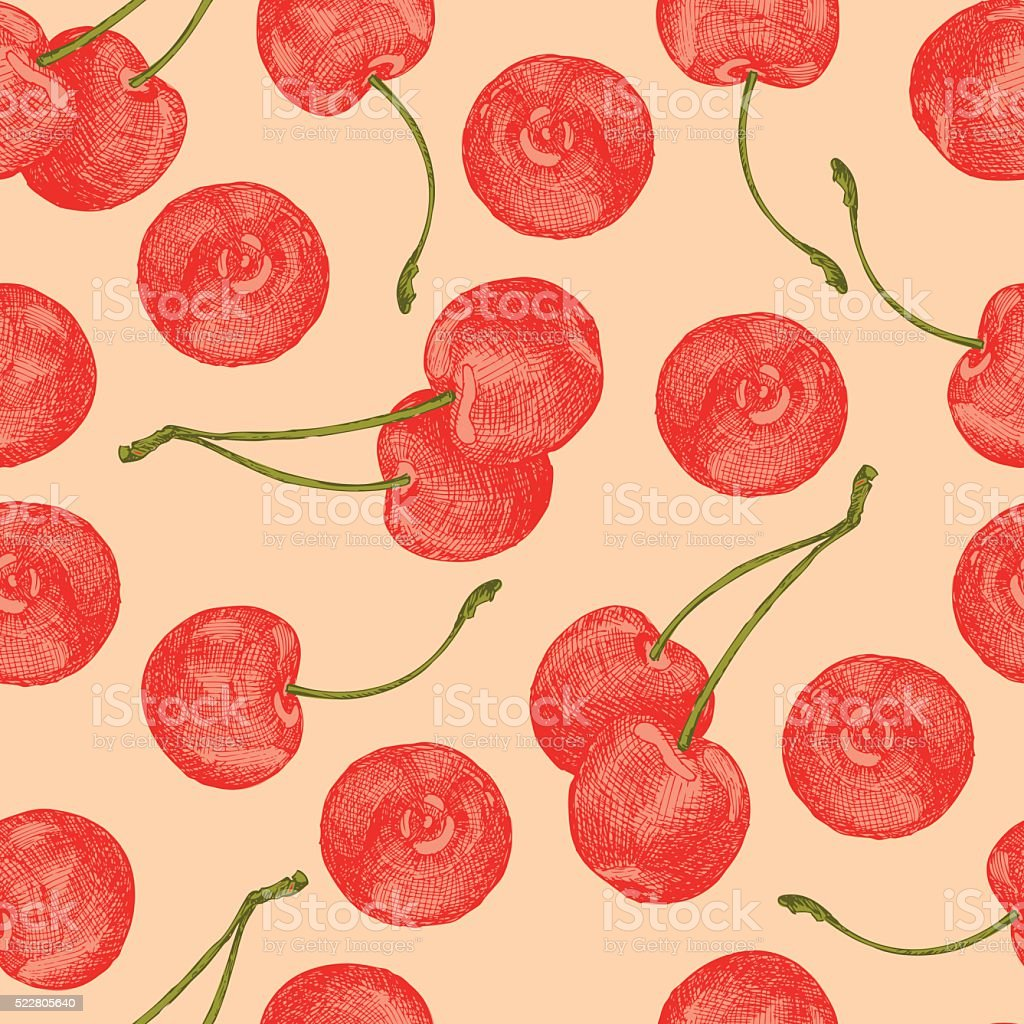 Cherries seamless vector art illustration