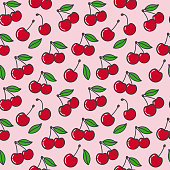 Seamless vector pattern with ripe cherries, Fresh fruit wallpaper background.