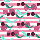 Cherry berries and leaves seamless pattern on pink stripe background. Summer fruit berry wallpaper. Hand drawn cherries. Design for fabric, textile print. Vector illustration.