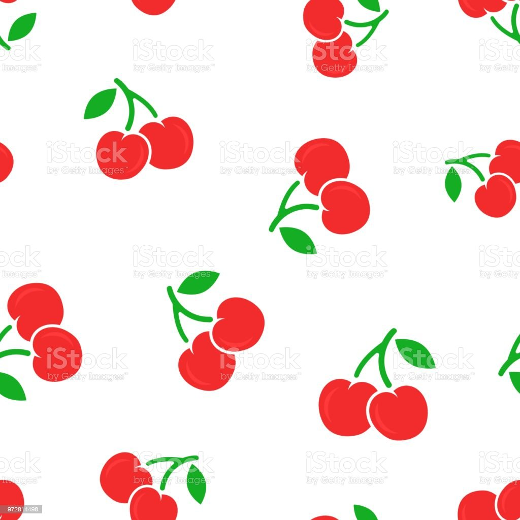 Cherry berry icon seamless pattern background. Business concept vector illustration. Sweet cherry healthy food symbol pattern. vector art illustration