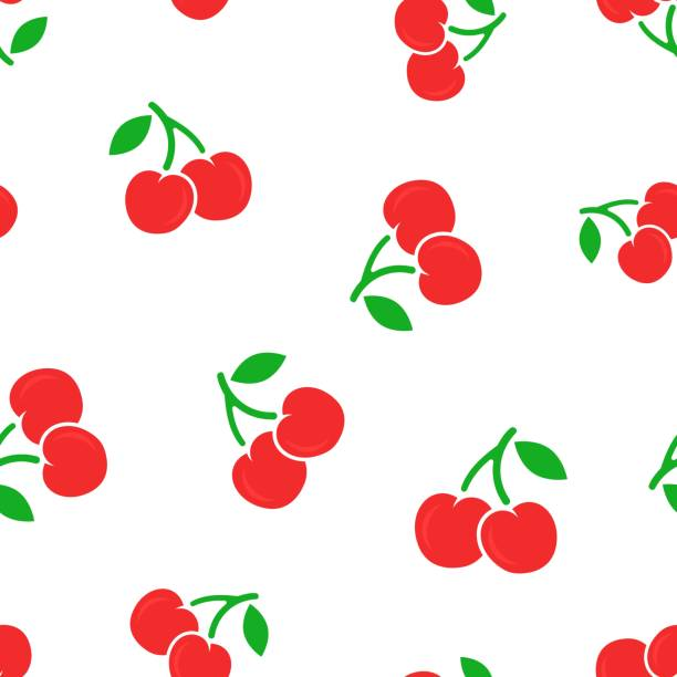 Cherry berry icon seamless pattern background. Business concept vector illustration. Sweet cherry healthy food symbol pattern. Cherry berry icon seamless pattern background. Business concept vector illustration. Sweet cherry healthy food symbol pattern. cherry stock illustrations