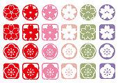 Cherry blossom and ume icon set