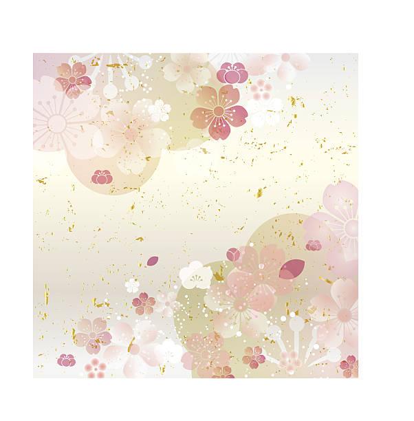 Cherry Blossom background 桜や梅の和文様を華やかに構成しました。 plum blossom stock illustrations