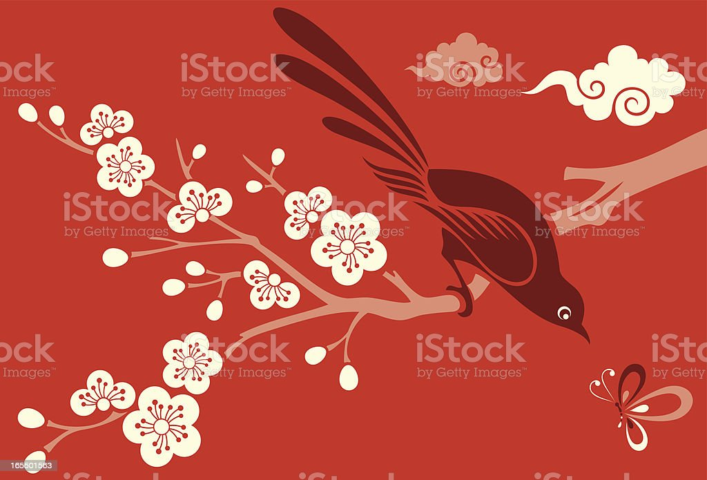 Cherry Blossom, Bird & Butterfly Vector Illustration of Cherry Blossom flowers, a little bird & a dragonfly. Abstract stock vector