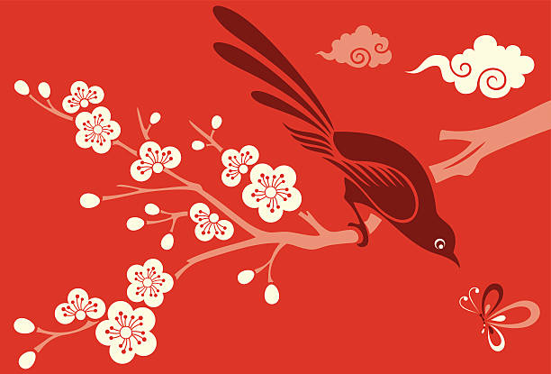 Cherry Blossom, Bird & Butterfly Vector Illustration of Cherry Blossom flowers, a little bird & a dragonfly. plum blossom stock illustrations