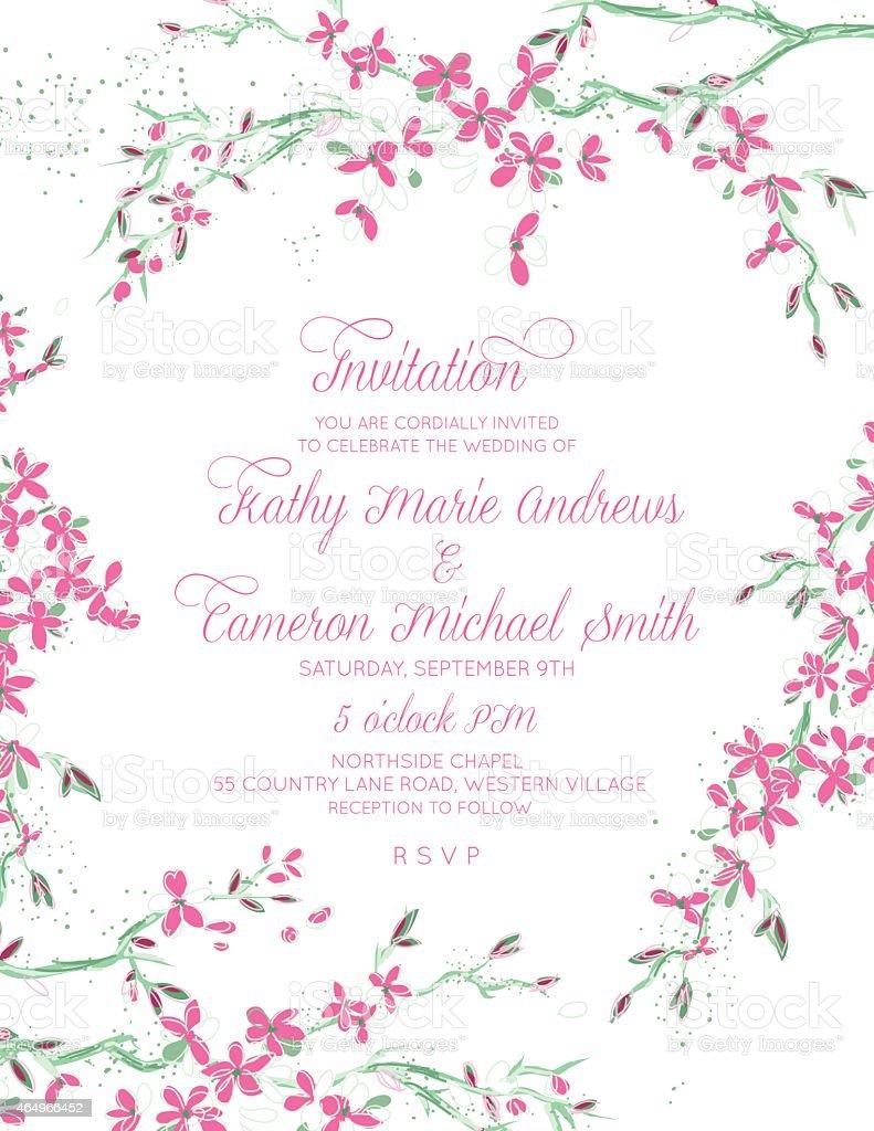 Cherry Blossom Branch Framed Border Vertical Wedding Invitation ...
