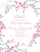 Cherry Blossom and branches vertical Wedding Invitation.  Cherry blossom branches frame the invitation information text message in the middle.  Invitation text is done in pastel pink.  The framed image is done in green,pink and lilac on white background.