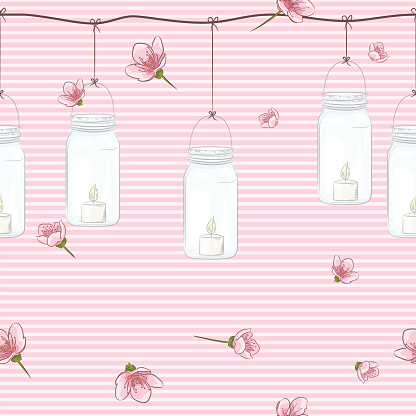 Cherry Blossom branches Seamless Pattern