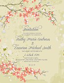 Cherry Blossom and branches vertical Wedding Invitation.  Cherry blossom branches run horizontal alone the top and bottom of the image with the text in the middle.  Invitation text is done in grey.  The image is done in orange,green and pink on a beige grunge textured background.