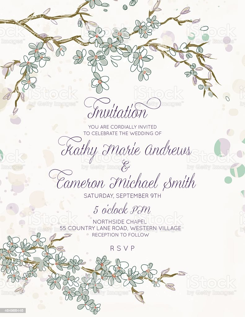 Cherry Blossom Branches Vertical Wedding Invitation On White stock ...
