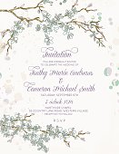 Cherry Blossom and branches vertical Wedding Invitation.  Cherry blossom branches run horizontal alone the top and bottom of the image with the text in the middle.  Invitation text is done in lilac purple.  The image is done in green and brown on antique grunge textured white background.
