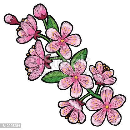Cherry Blossom Embroidery Patch