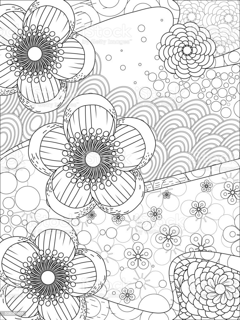 Cherry blossom floral coloring page stock vector art for Cherry blossom coloring pages