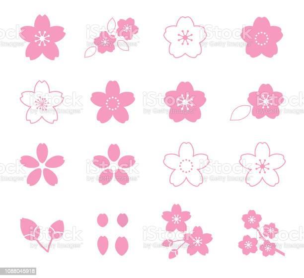 Cherry Blossom Flower Icon Set Stockvectorkunst en meer beelden van April