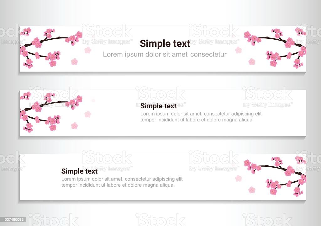 Cherry Blossom Flowers Banners Templates Sakura Pink Flowers Stock ...
