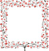 Square floral tree frame