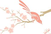 Vector Illustration of Cherry Blossom flowers, a little bird & a dragonfly.