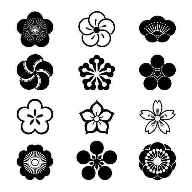 Cherry blossom icons Cherry blossom icons, sakura icons, japanese flower, set of 12 plum blossom stock illustrations