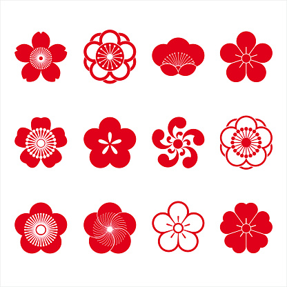Cherry blossom icons, sakura icons, japanese flower, set of 12