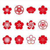Cherry blossom icons, sakura icons, japanese flower, set of 12
