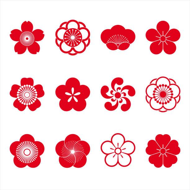 Cherry blossom icons Cherry blossom icons, sakura icons, japanese flower, set of 12 peach blossom stock illustrations