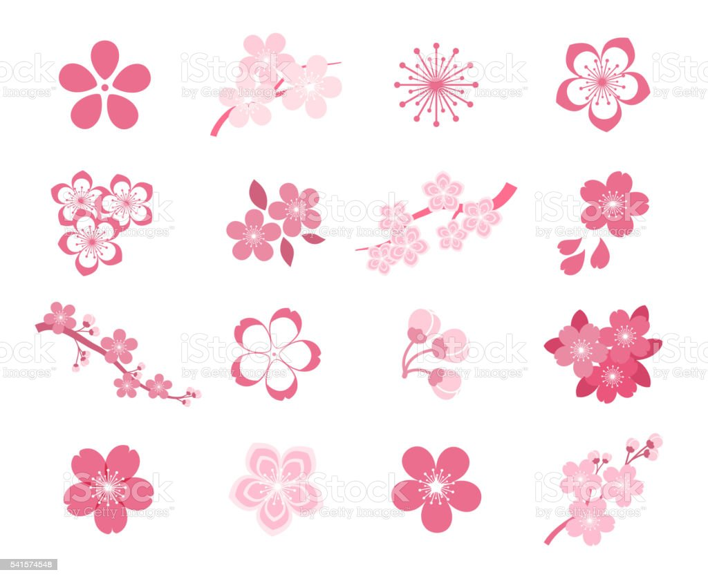 Cherry Blossom Japanese Sakura Vector Icon Set stock vector art ...