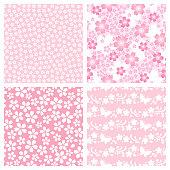 Set of cherry blossom patterns.