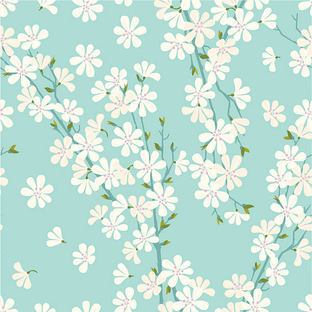 Cherry Blossom Pattern Cherry blossom seamless pattern on turquoise background. Vector. EPS 8. apple blossom stock illustrations