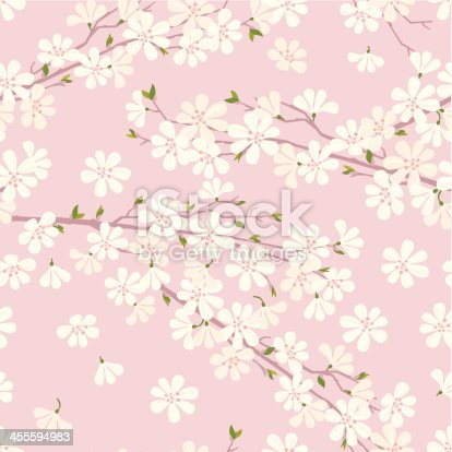 Cherry blossom seamless pattern on pink background. Vector. EPS 8.