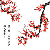 Cherry blossom Happy Birthday card with hand drawn branch of red cherry flowers blooming.  Sakura blossoming template. Chinese or Japanese traditional drawing. Vector.