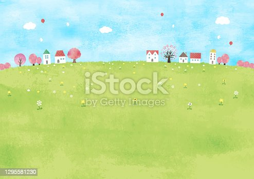 istock Cherry blossom trees and meadow watercolor 1295581230