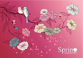 Vector illustration of Cherry Blossom in classical style.