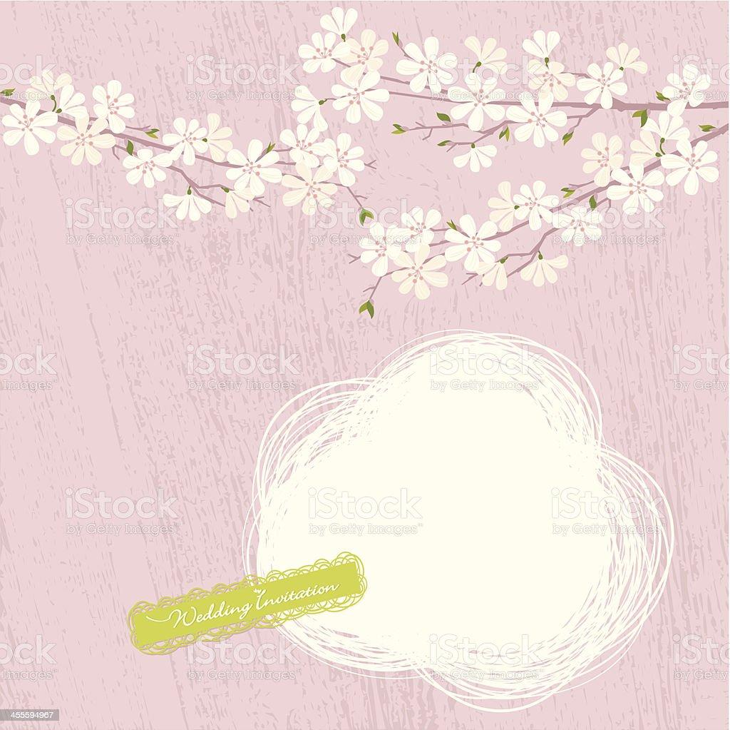 Cherry Blossom (Wedding Invitation) vector art illustration