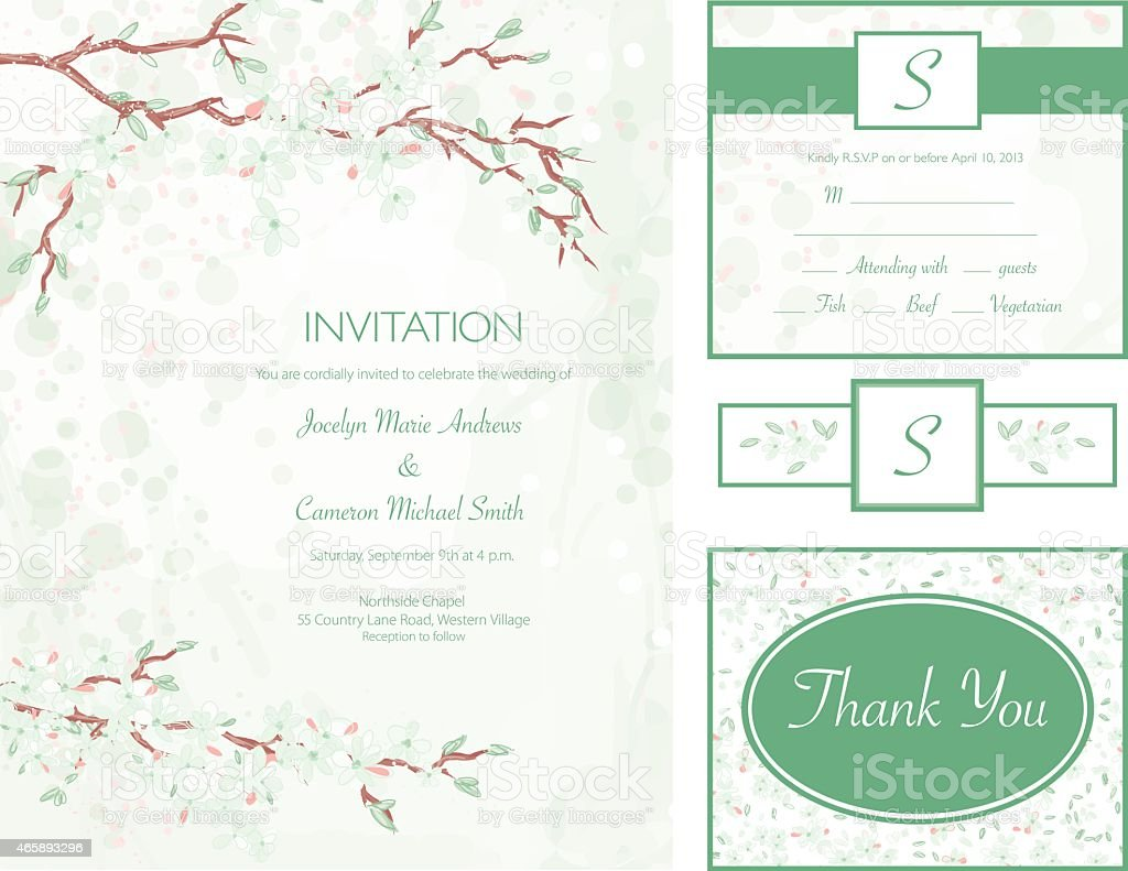 Cherry Blossom Water Color Style Wedding Invitation Set Stock